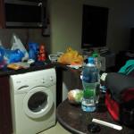 hurra, unser Hotelzimmer hat eine Waschmaschine