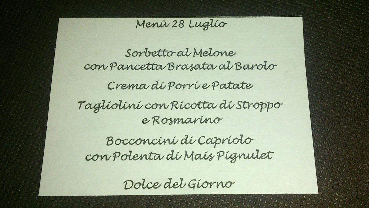 Abend-Menü im Albergo Le Marmotte ... super lecker!!