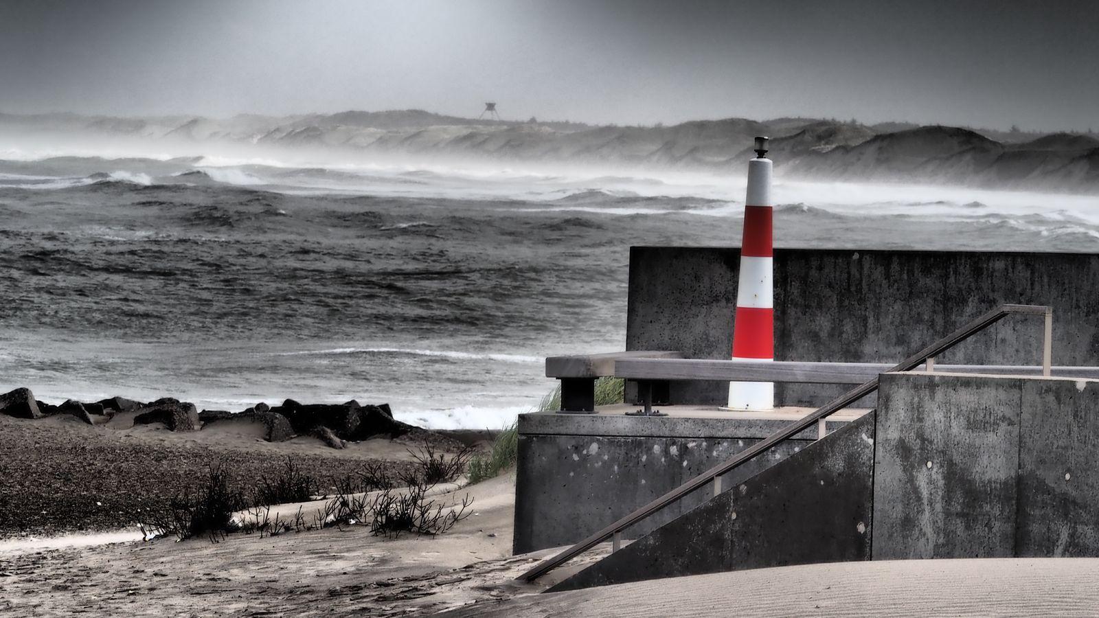 extremer Sturm an der Westküste Dänemarks